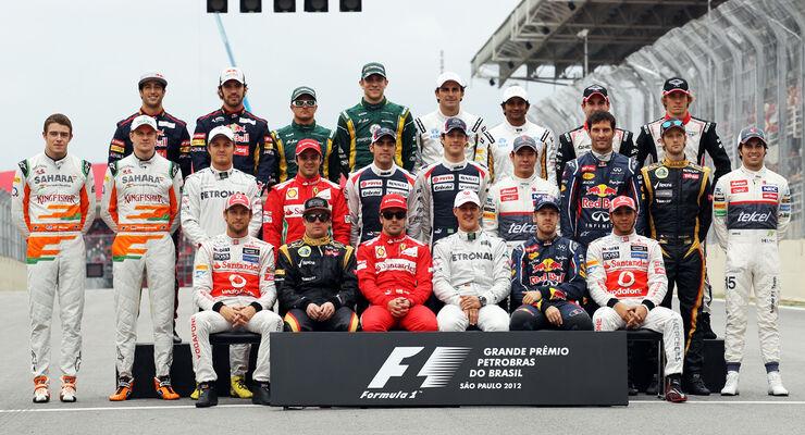 F1 Fahrer Gruppenfoto Formel 1 GP Brasilien 2012