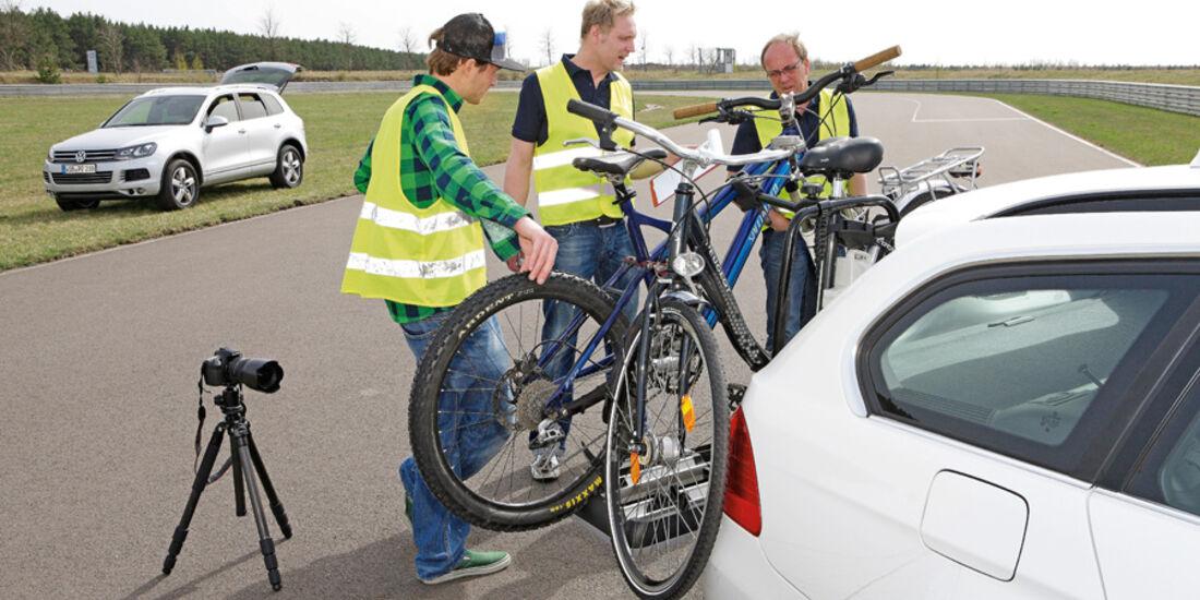 Fahrradträger, Fahrversuche