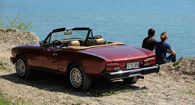 Fiat 124 Spider, Seitenansicht, See, Cabio offen