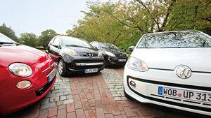 Fiat 500 0.9 Twinair Lounge, Ford Ka Titanium, Peugeot 107 70 Urban Move, VW Up 1.0 White