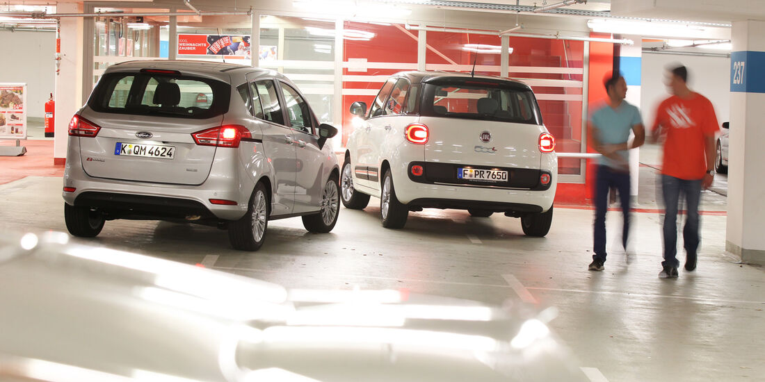Fiat 500L 1.4 16V Pop Star, Ford B-Max 1.0 Ecoboost Titanium, Heckansicht