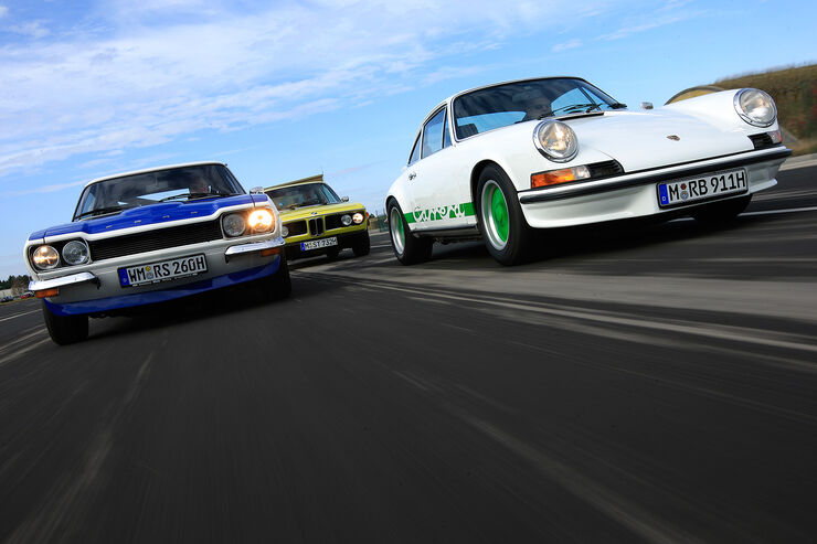 Ford Capri RS, BMW 3.0 CSL und Porsche Carrera RS