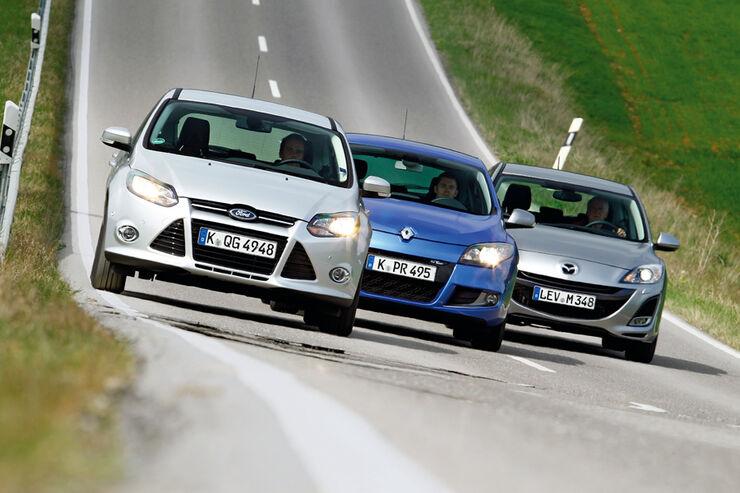 Ford Focus 1.6 ECOBOOST, Mazda 3 2.0 MZR i-STOP, Renault Megane TCe 130, alle Fahrzeuge, Frontansicht