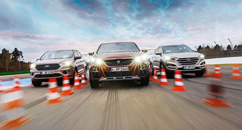 Ford Kuga 2.0 TDCi 4x4, Hyundai Tucson 2.0 CRDi 4WD, Peugeot 3008 BlueHDi 180