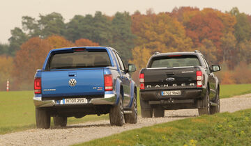 Ford Ranger 3.2 TDCi, VW Amarok 3.0 TDI, Heckansicht