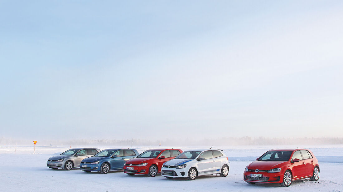Golf GTI, Golf GTD, Golf R, Polo WRC Street, Frontansicht