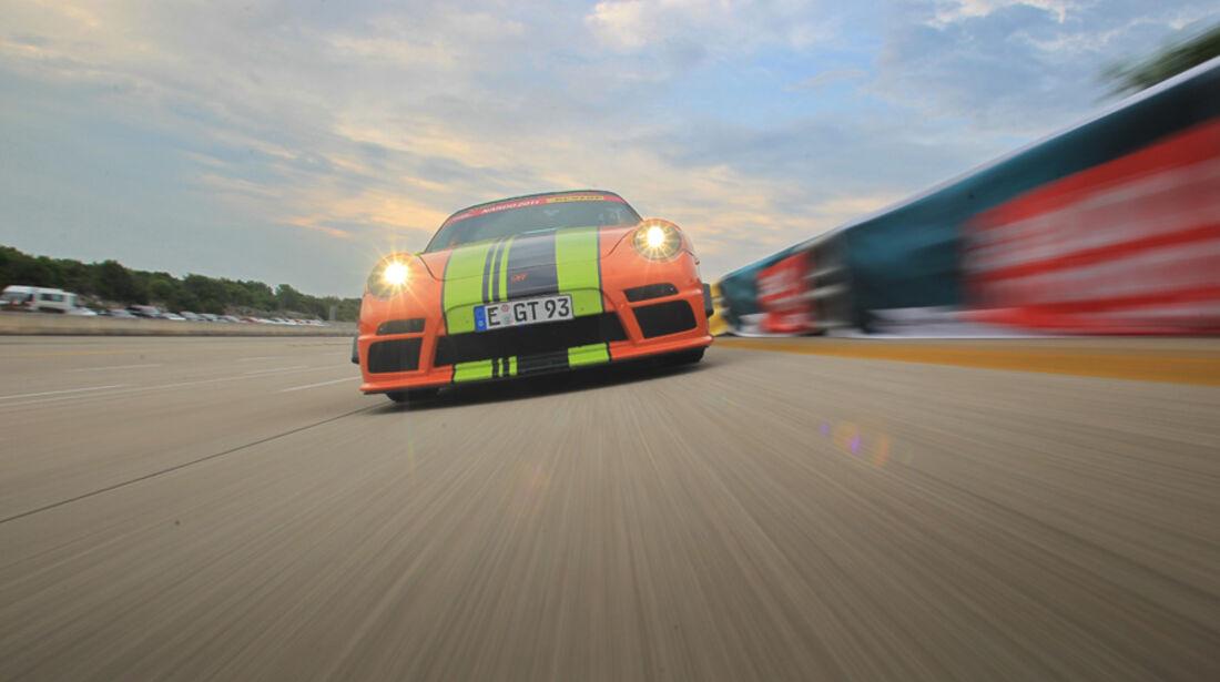 Highspeed-Test, Nardo, ams1511, 391km/h, 9ff Porsche 911 GT3, Frontansicht