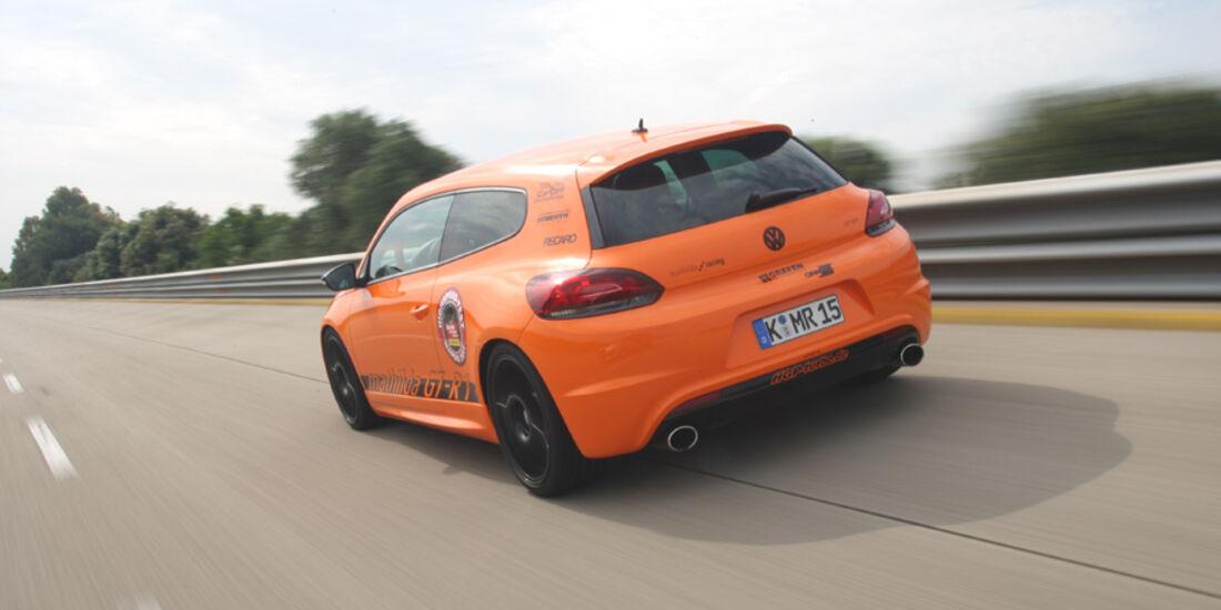 Highspeed-Test, Nardo, ams1511, 391km/h, Mathilda VW Scirocco R, Steilkurve, Heck, Rückansicht