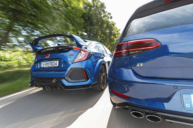 Honda Civic Type R, VW Golf R 2.0 TSI 4 Motion, Exterieur Heck