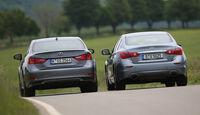 Infiniti Q50 S 3.5 V6 Hybrid, Lexus GS 450h F-Sport, Heckansicht
