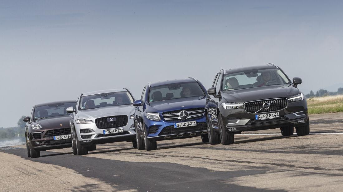 Jaguar F-Pace, Mercedes GLC, Porsche Macan, Volvo XC60 Vergleichstest