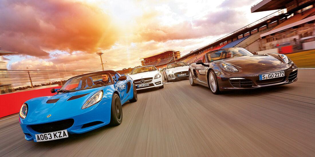 Jaguar F-Type, Lotus Elise S CR, Mercedes SLK 350, Porsche Boxster, Frontansicht