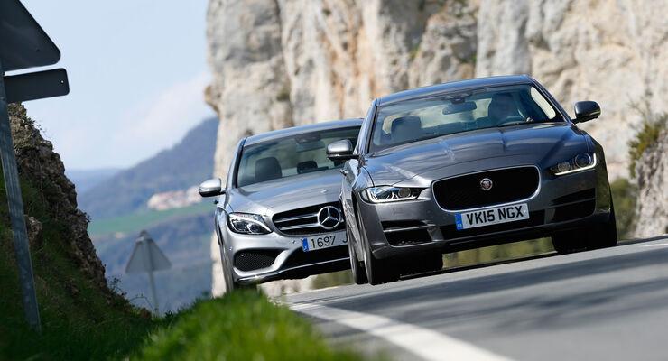 Jaguar XE 25t, Mercedes C220 Bluetec, Frontansicht