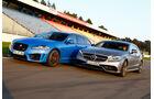 Jaguar XFR-S Sportbrake, Mercedes CLS 63 AMG S Shooting Brake, Seitenansicht