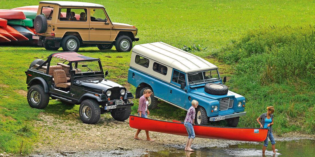 Jeep Wrangler, Land Rover 109, Mercedes-Benz 240 GD, Seitenansicht
