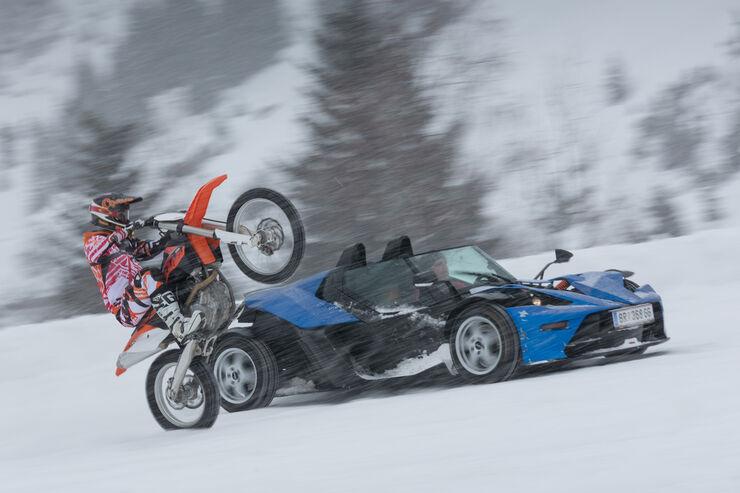KTM X-Bow GT, 450 SX-F, Seitenansicht, Schnee