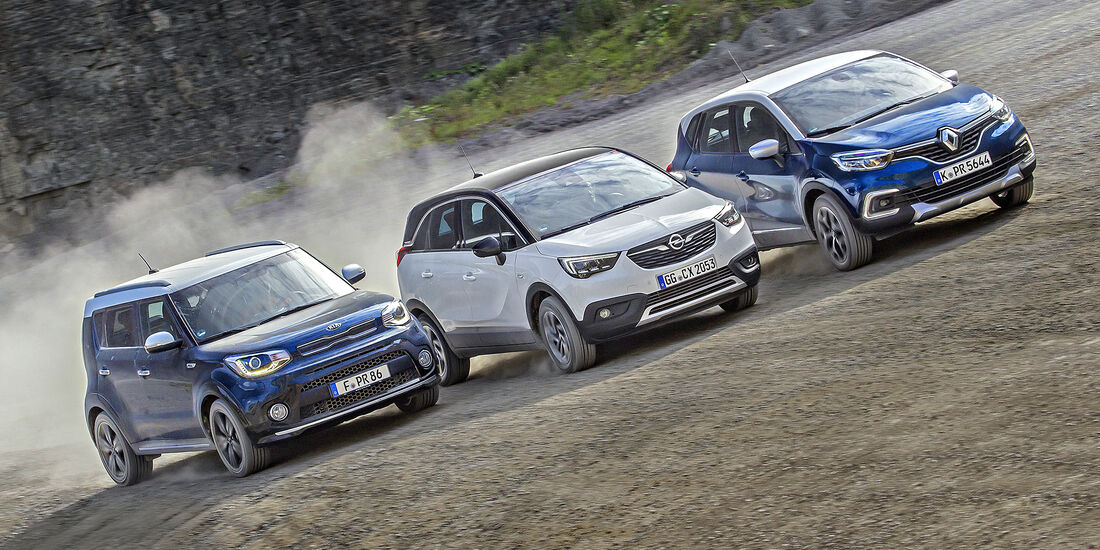 Kia Soul 1.6 CRDi Spirit, Opel Crossland X 1.6 D Innovation, Renault Captur dCi 110 Intens, Exterieur