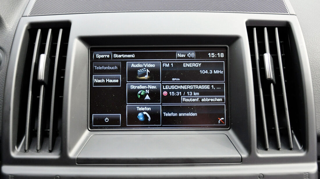 Land Rover Freelander 2.2 TD4, Infotainmentsystem, Menü, Touchscreen