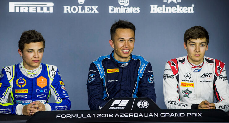 Lando Norris, Alex Albon & George Russell - Formel 2 - Aserbaidschan 2018