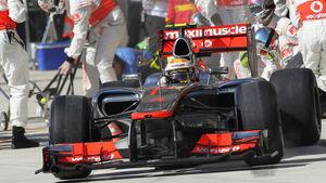 Lewis Hamilton Boxenstopp GP USA 2012
