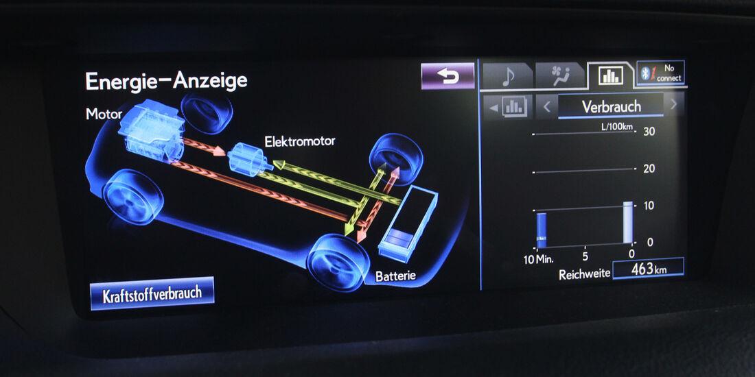 Lexus GS 450h F-Sport, Display, Fahrwerkeinstellung