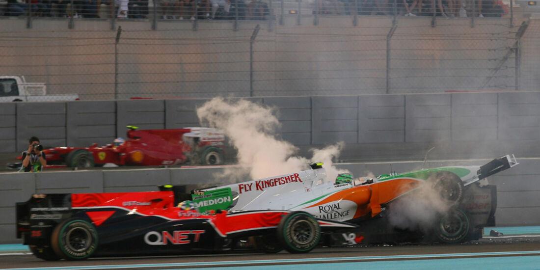 Liuzzi Schumacher Crash GP Abu Dhabi 2010