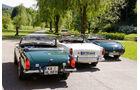 MG Midget, Triumph TR4, Austin-Healey 3000, Heckansicht