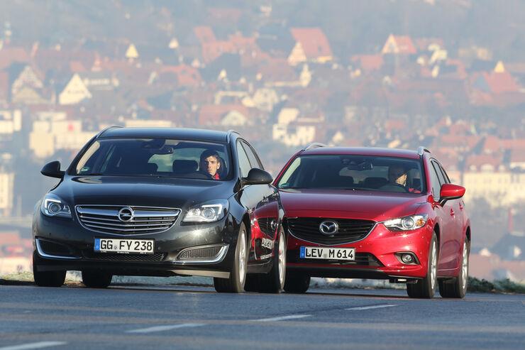 Mazda 6 Kombi, Opel Insignia Sports Tourer, Frontansicht