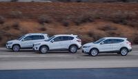 Mazda CX-5, Nissan Qashqai, VW Tiguan, Seitenansicht