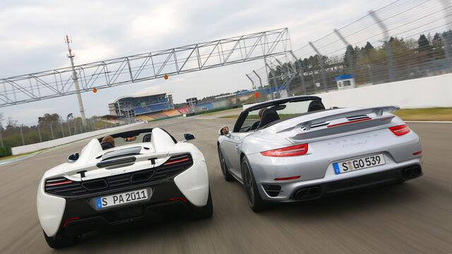 mclaren 650s spider, porsche 911 turbo s: exklusives biturbo-duell