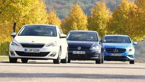 Mercedes A 180 CDI, Peugeot 308 e-HDi 115, VW Golf 1.6 Blue TDI,