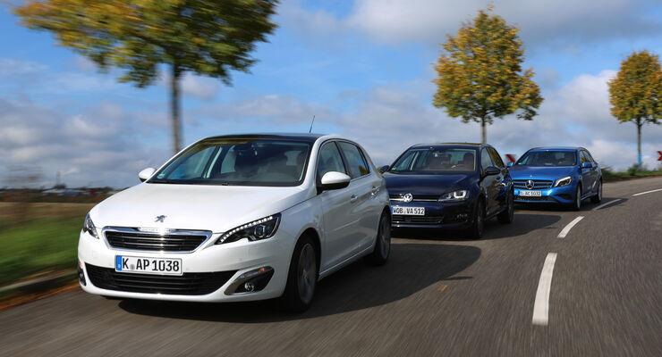 Mercedes A 180 CDI, Peugeot 308 e-HDi 115, VW Golf 1.6 Blue TDI, Frontansicht