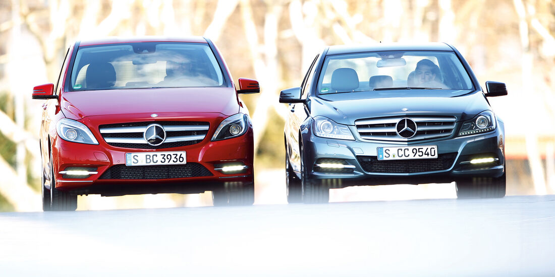 Mercedes B 200, Mercedes C 180, Frontansicht