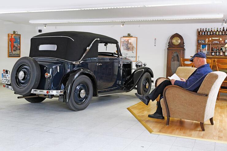 Mercedes-Benz 170 Cabriolet, Heckansicht, Garage