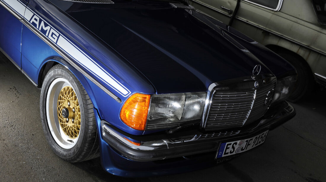 Mercedes- Benz 280 E AMG, Detail, Motorhaube, Scheinwerfer