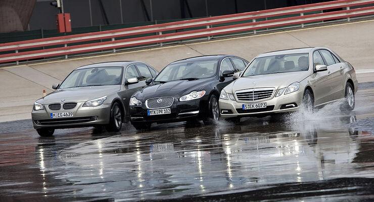 Mercedes E 350 CDI, BMW 530d, Jaguar XF 3.0 D