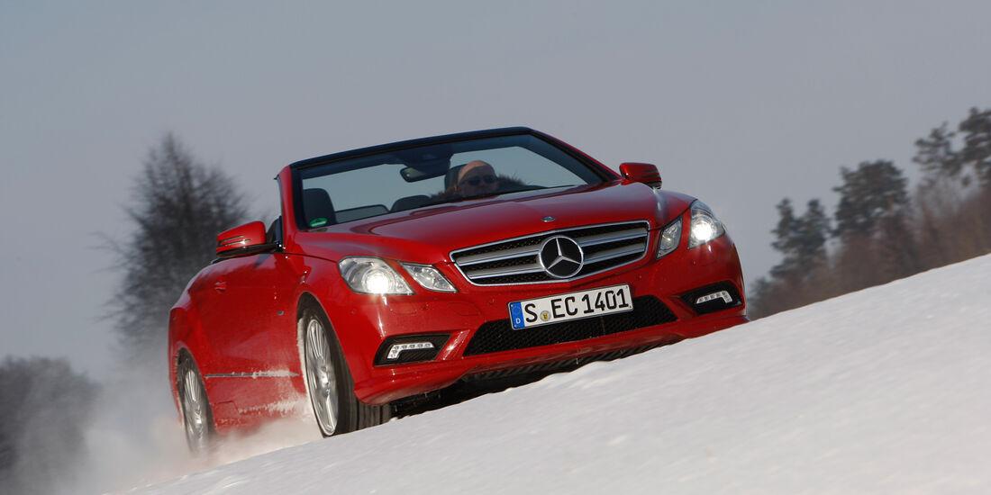Mercedes E 350 Cabriolet, Frontansicht, Schnee
