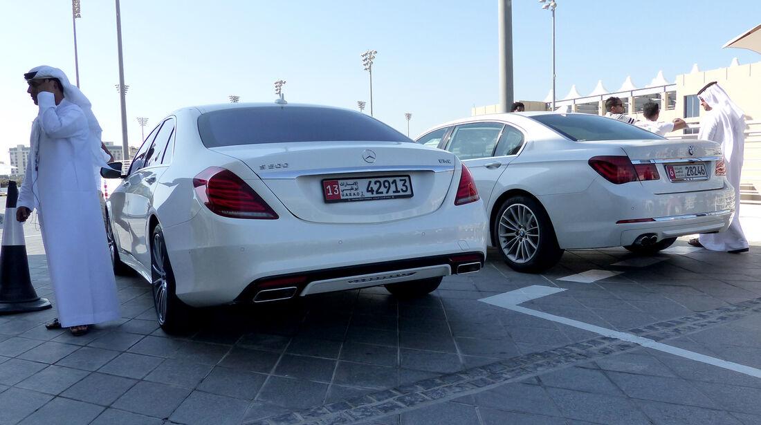 Mercedes S500 & BMW 750L - F1 Abu Dhabi 2014 - Carspotting