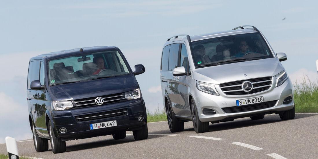 Mercedes V 250 Bluetec, VW Multivan 2.0 BiTDI BMT, Frontansicht