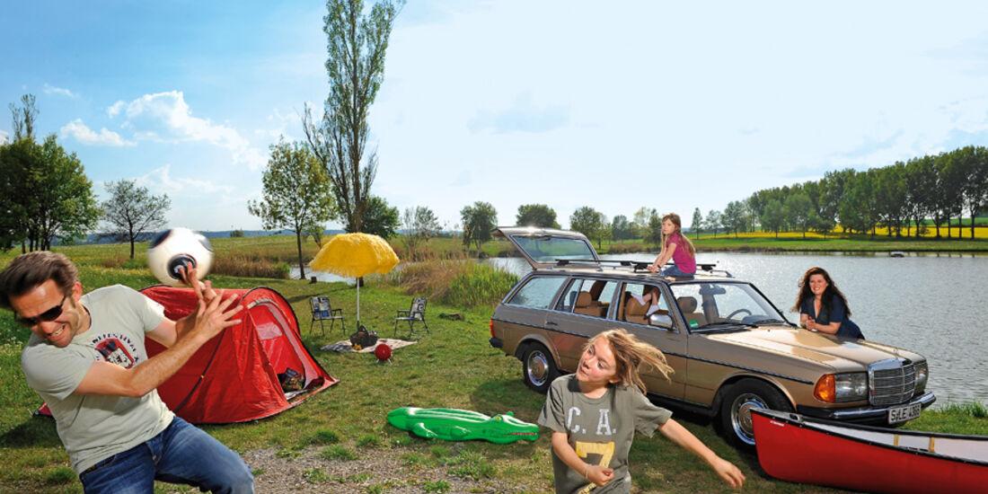 Mercedes W 123, Seitenansicht, Camping, Familie
