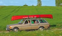 Mercedes W 123, Seitenansicht, Kanu, Dachträger