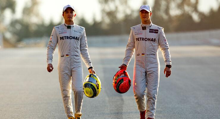 Michael Schumacher Nico Rosberg Mercedes 2012