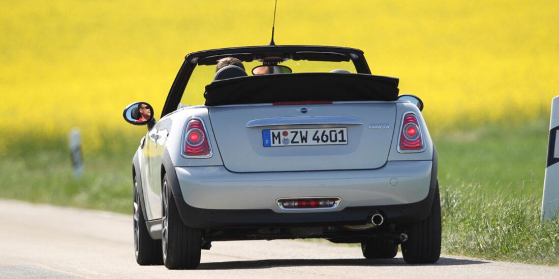 Mini Cooper Cabrio, Heckansicht, offen