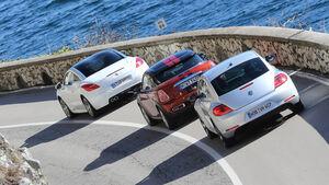 Mini Coupé, Peugeot RCZ, VW Beetle, Heckansicht