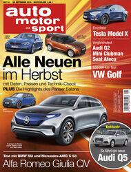 Neues Heft von auto motor und sport, Ausgabe 21/2016, Vorschau, Preview