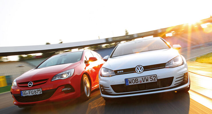 Opel Astra 2.0 CDTi Biturbo, VW Golf GTD, Frontansicht