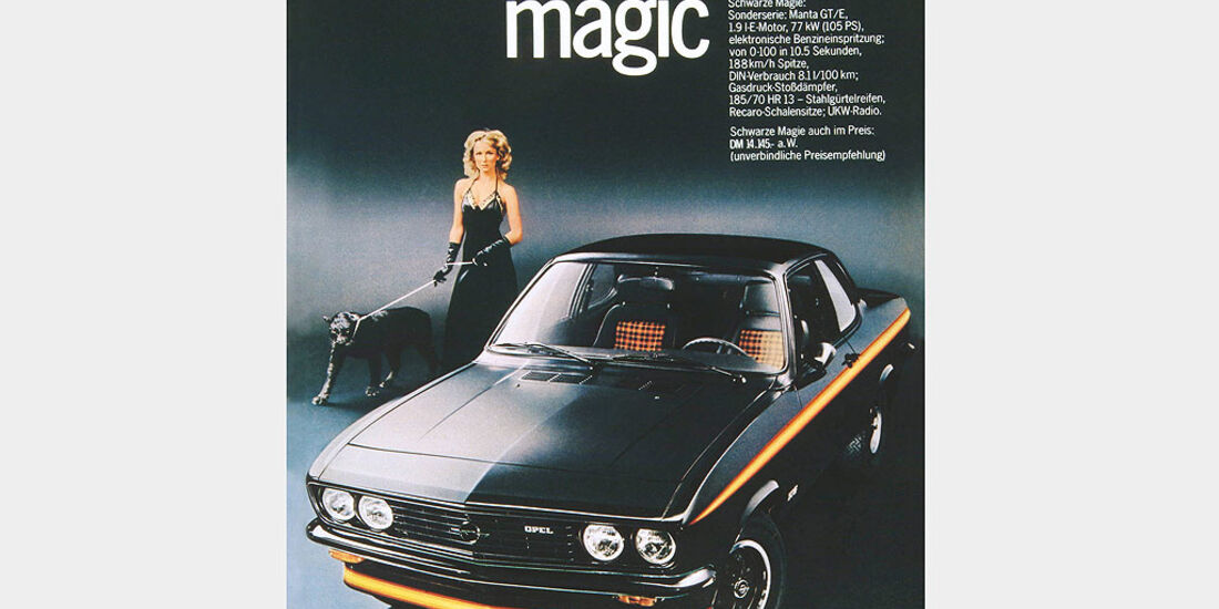 Opel Manta A, GTE Sondermodell Black Magic, 1975, Werbeanzeige