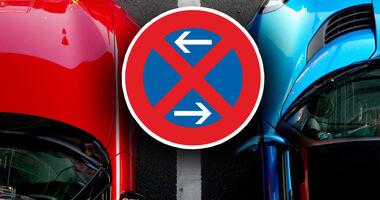 Parkverbot Parkplatz Parkkralle Aufmacher Collage Schild