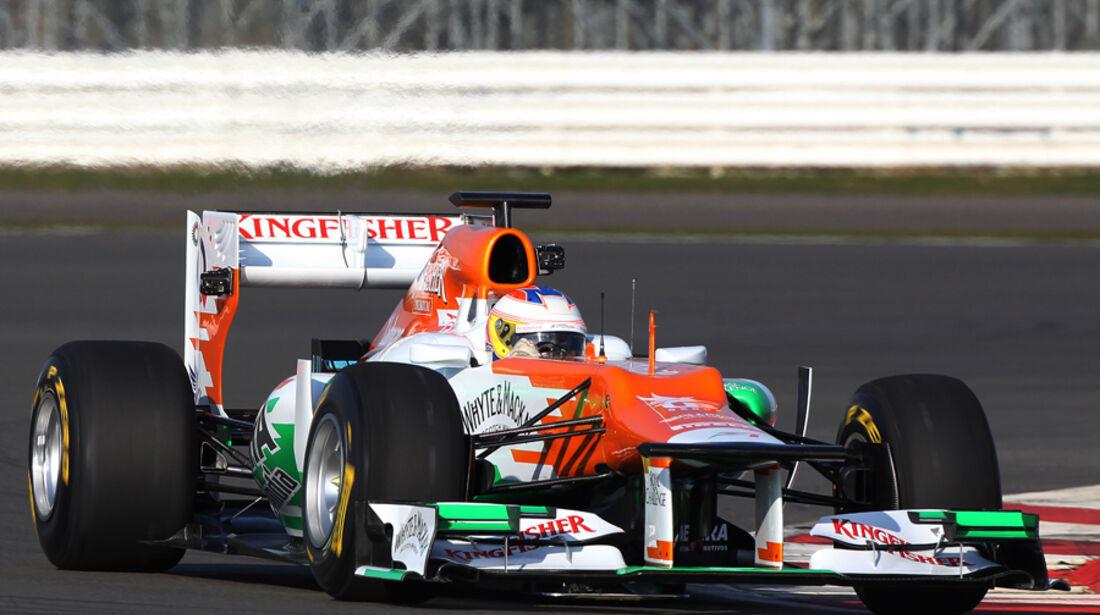 Paul di Resta Force India VJM05 Shakedown Silverstone 2012