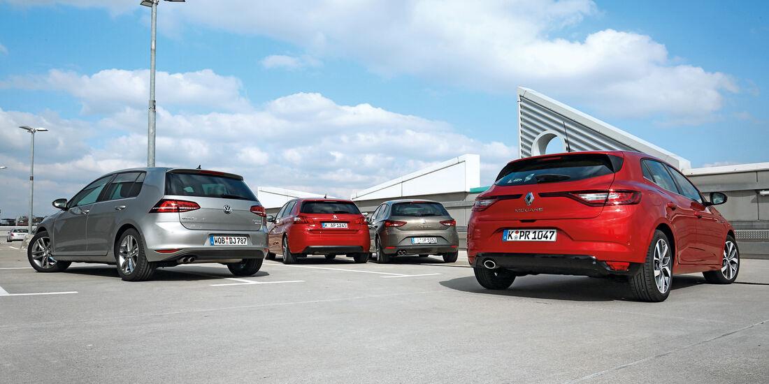 Peugeot 308 BlueHDi 150, Renault Mégane dCi 130, Seat Leon 2.0 TDI, VW Golf 2.0 TDI